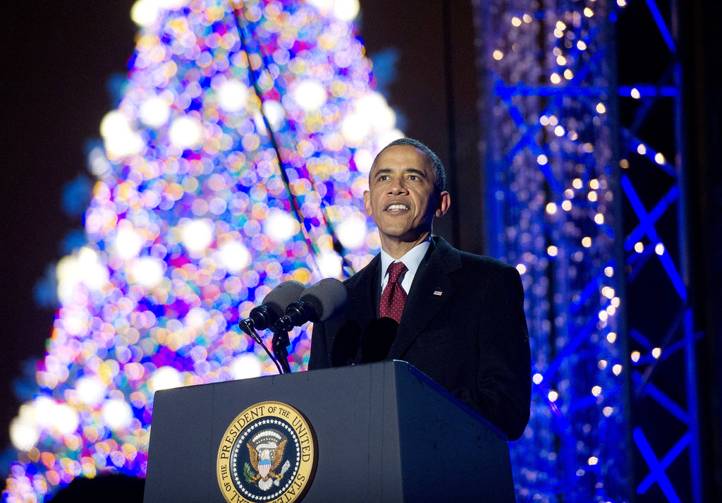 President Barack Obama addressed the crowd in Washington DC during the national Christmas tree lighting ceremony.