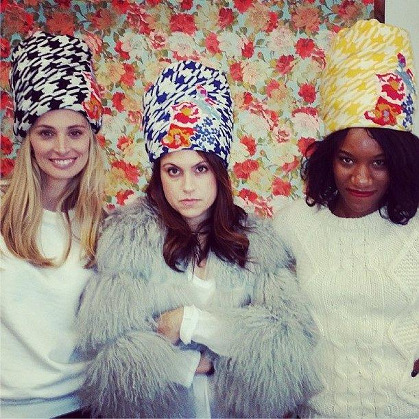 While picking out headgear, Lauren Santo Domingo, Rachel Strugatz, and Danielle Prescod clearly thought the sky was the limit. Source: Instagram user rachelstrugatz