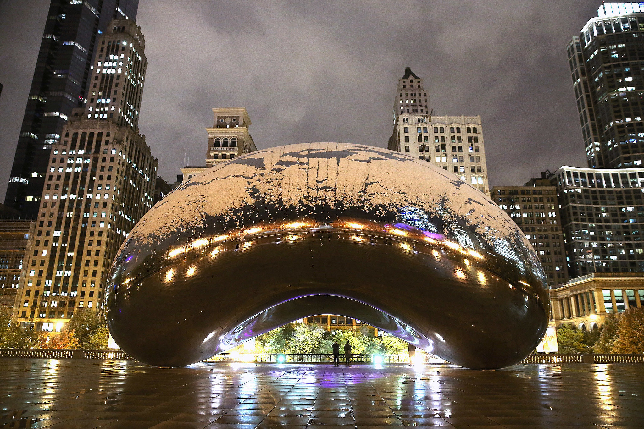"""Chicago saw its first snow in early November, which left Cloud Gate — """"The Bean"""" — covered in flakes."""