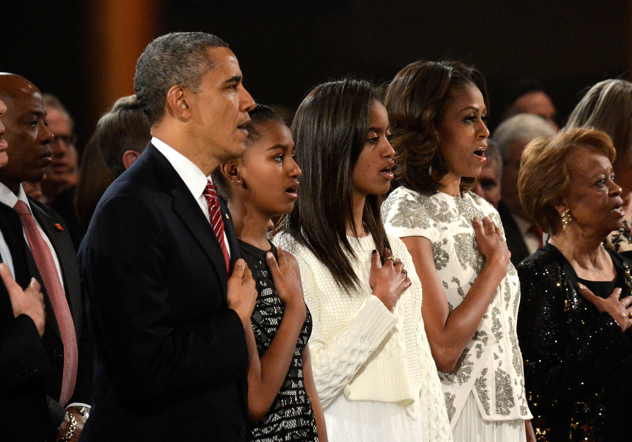 The Obamas sang together.