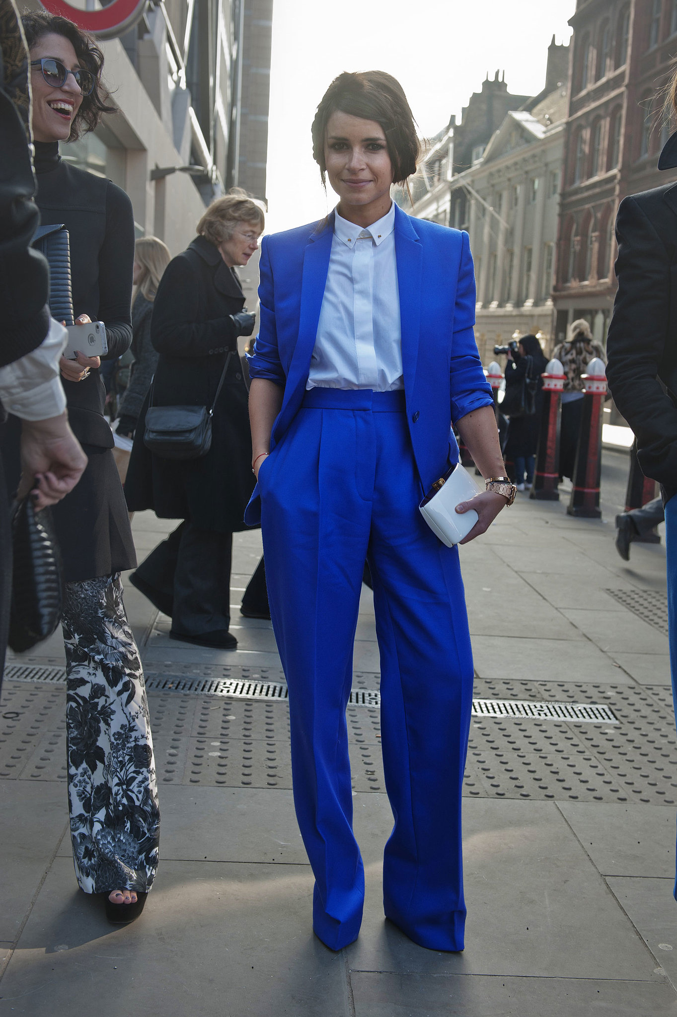 Miroslava Duma suited up in a bold head-to-toe cobalt hue.