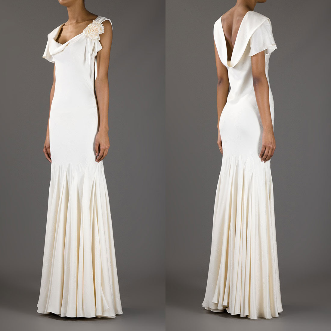 Why mess with a good thing? For Pippa's own nuptials, we could see her slipping into another body-skimming cowl-neck gown to show off that famous figure. And if she were looking to re-create the same effect, why not reach for another McQueen gown, like this one.