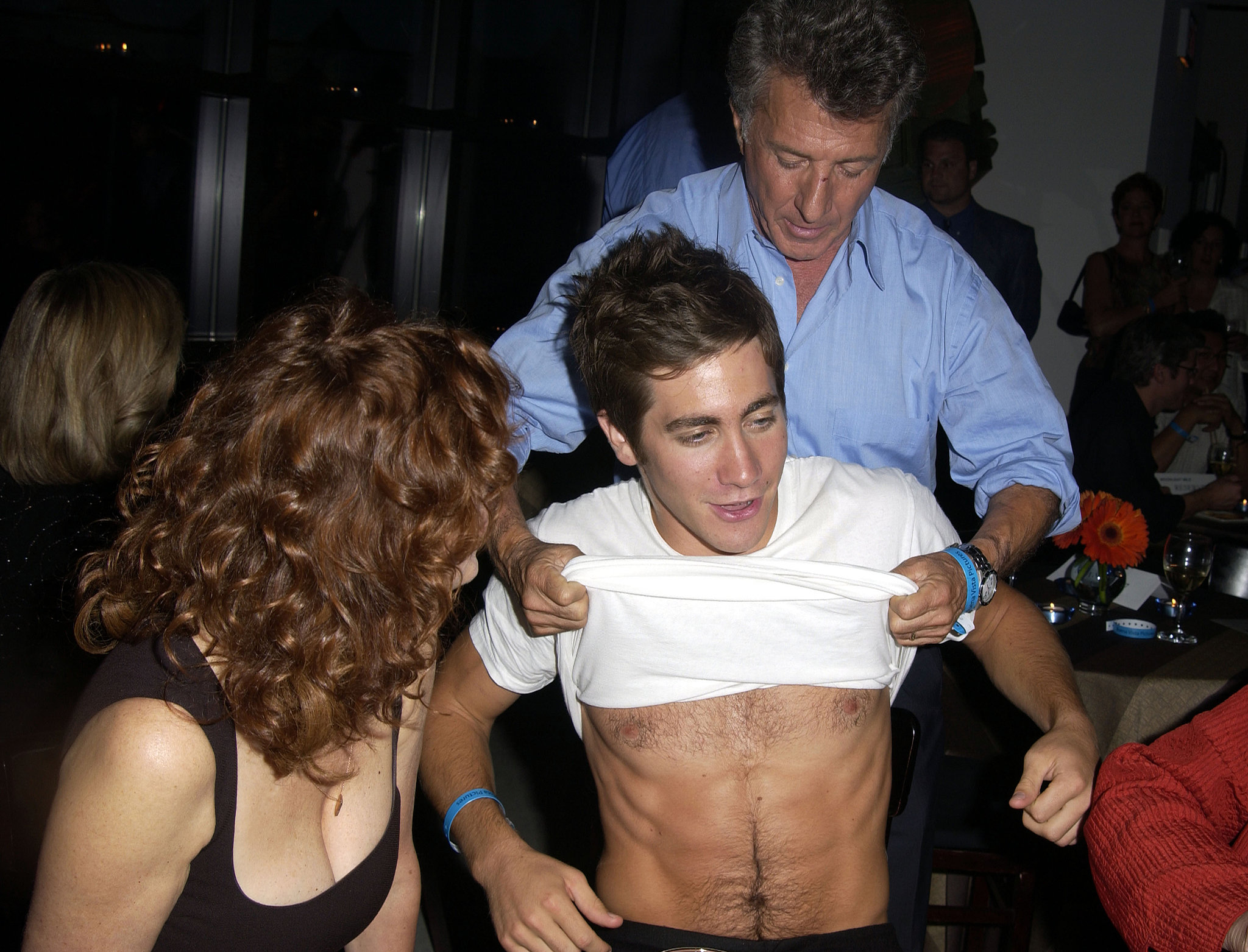 Susan Sarandon and Dustin Hoffman wanted to see more of Jake's six-pack at the Toronto Film Festival in September 2002 — we don't blame them!