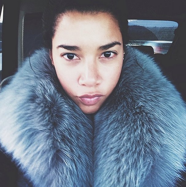 It was cold outside, but Hannah Bronfman kept warm in her furry gray collar. Source: Instagram user hannahbronfman