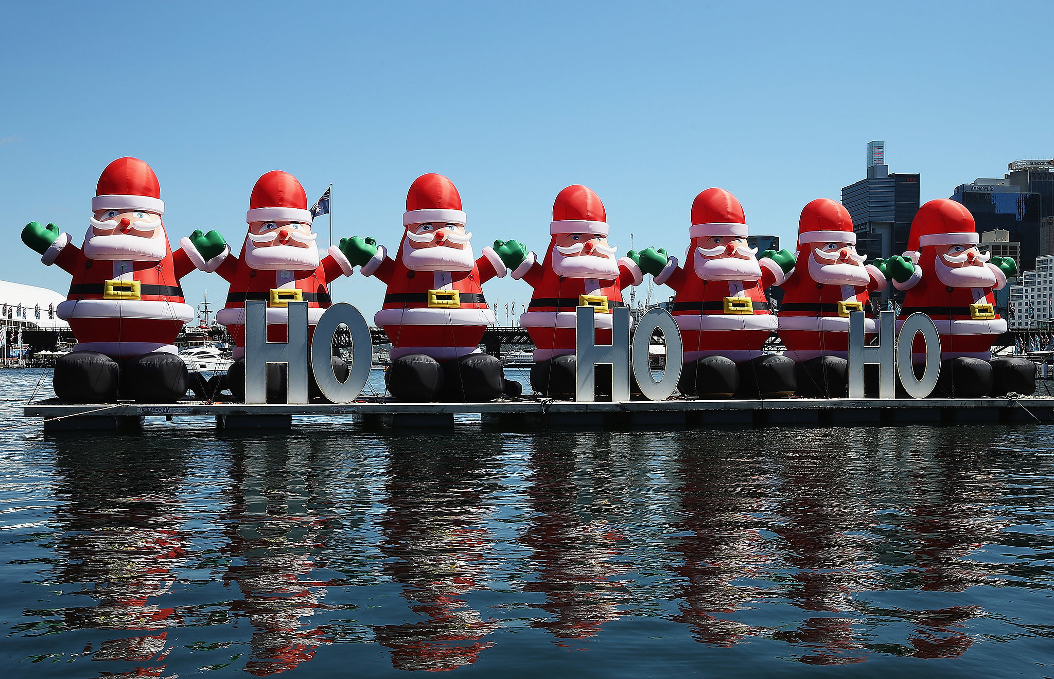 Christmas decorations were displayed on the water in for Australian christmas decoration