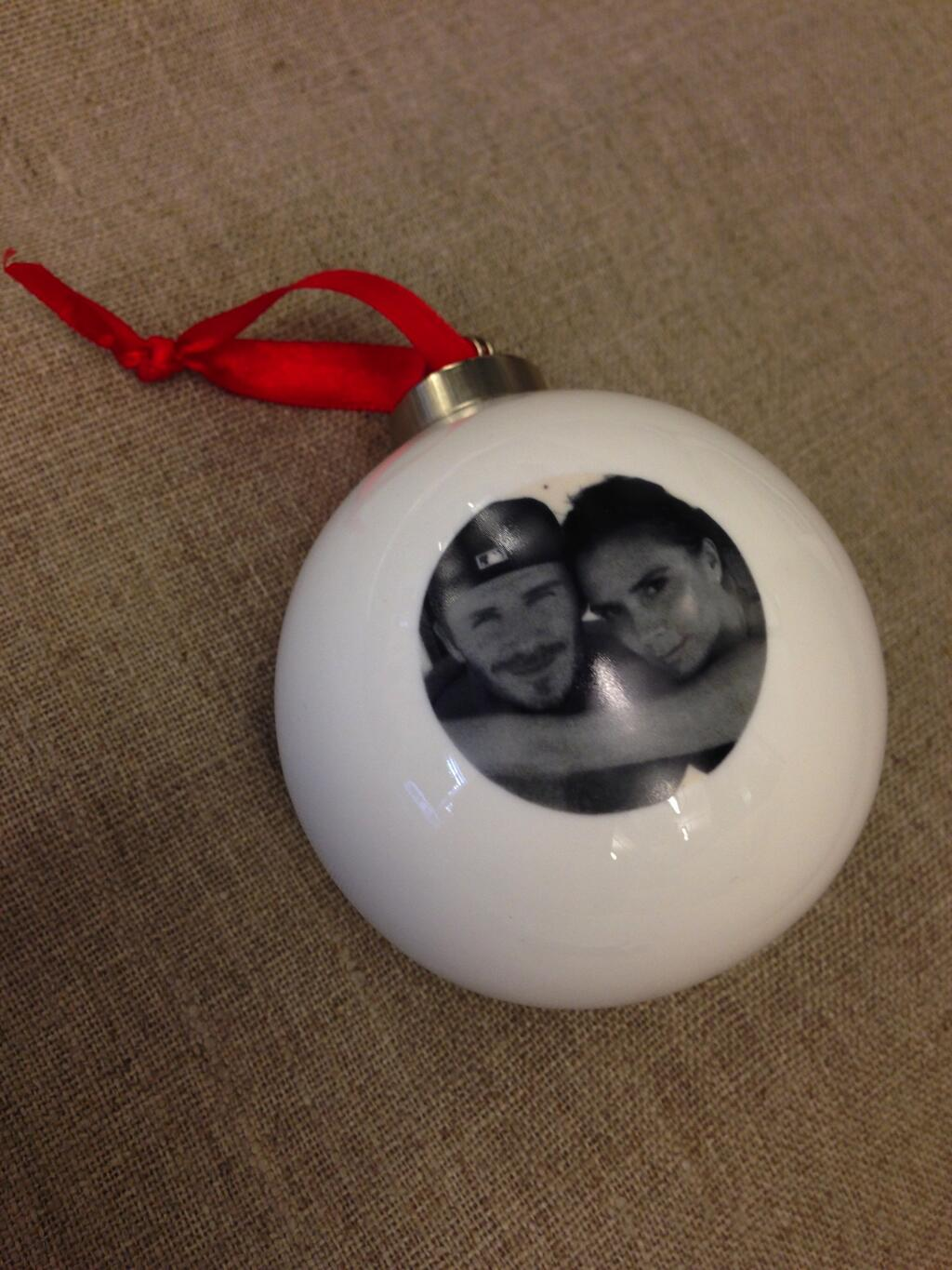 "Victoria Beckham shared her Christmas ornament on Twitter, writing, ""Christmas baubles!"" Source: Twitter user victoriabeckham"