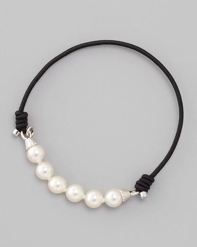 Majorica Elastic Pearl Bracelet, Black
