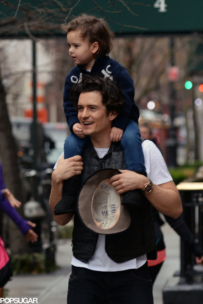Orlando Bloom was all smiles while holding Flynn.