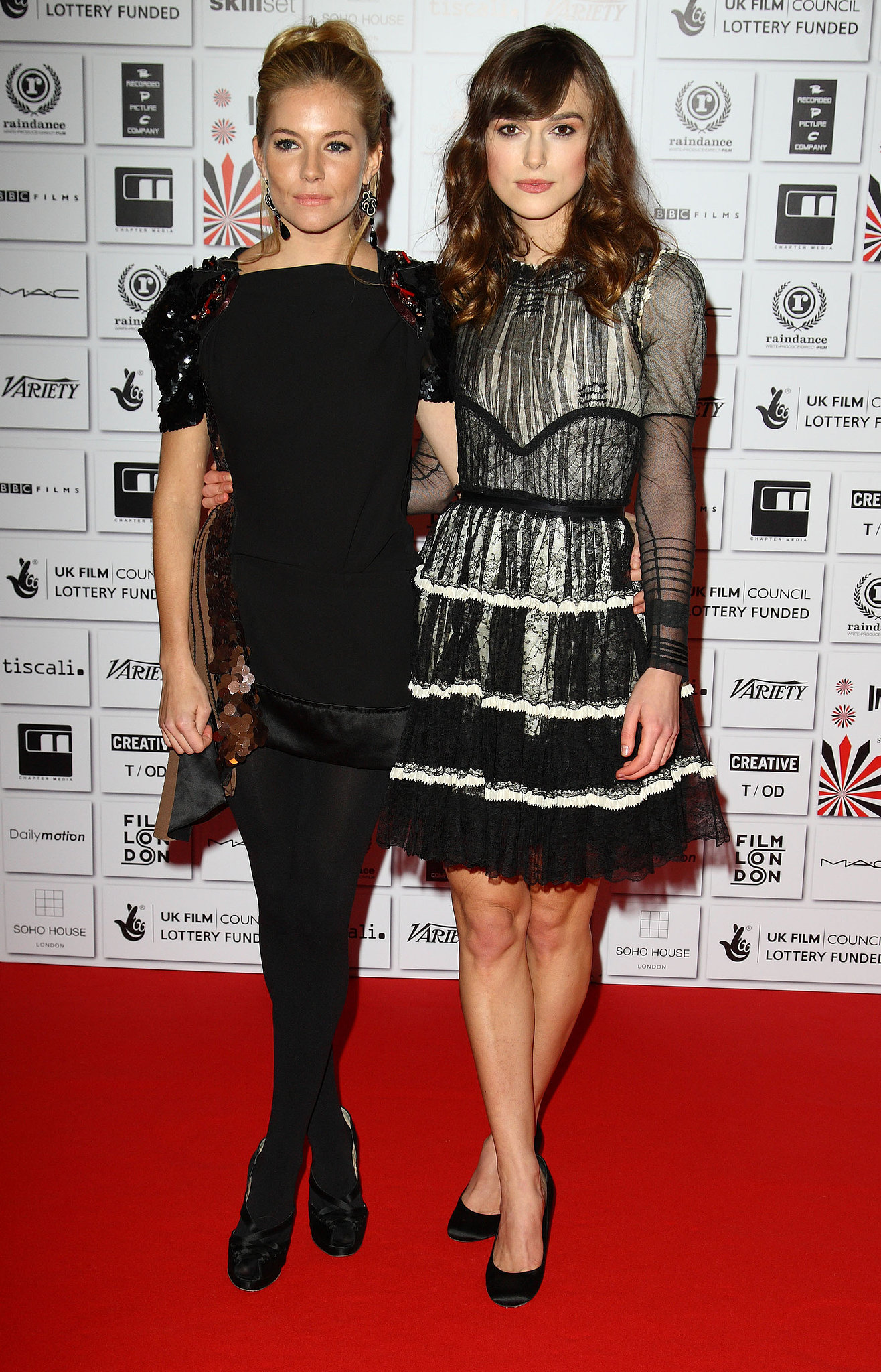 Sienna and Keira Knightley made a pretty pair at the British Independent Film Awards in 2008.