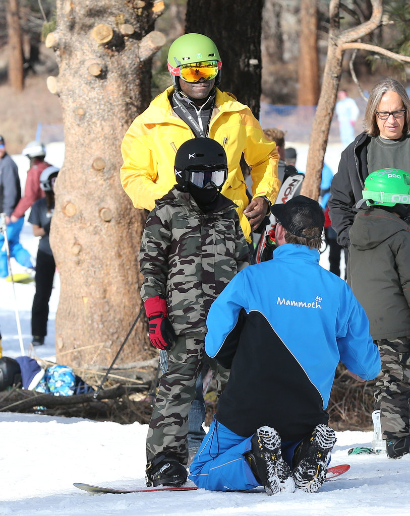 Seal braved the snow on Mammoth Mountain, CA, as he took Henry Samuel out for a skiing lesson in December 2013.