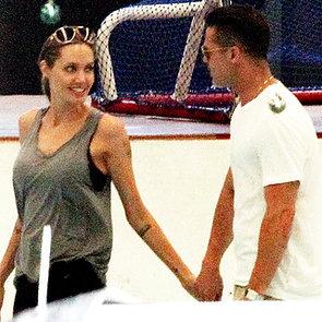 Brad Pitt and Angelina Jolie at Ice-Skating Rink With Kids