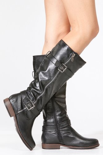 Bamboo Faux Leather Biker Boots - Sale