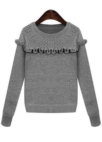 Round Neck Ruffled Knitting Pullover Sweater
