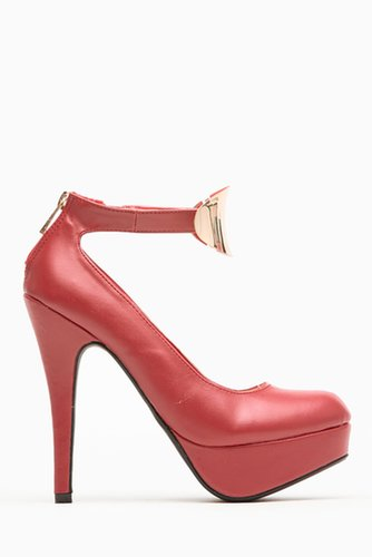 Bamboo Red Mini Plated Almond Toe Pump @ Cicihot Heel Shoes online store sales:Stiletto Heel Shoes,High Heel Pumps,Womens High H