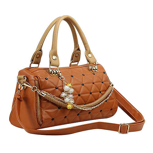 ]Candy Colors Quilted Pendant Chain Shoulder Messenger Bag Handbag