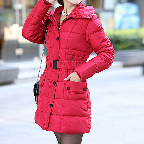 Quilted Belted Detachable Waistband Thick Down Jacket Slim Hooded Coat