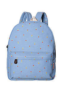 Image of [grls72000019]Country Style Retro Floral Print Denim Backpack