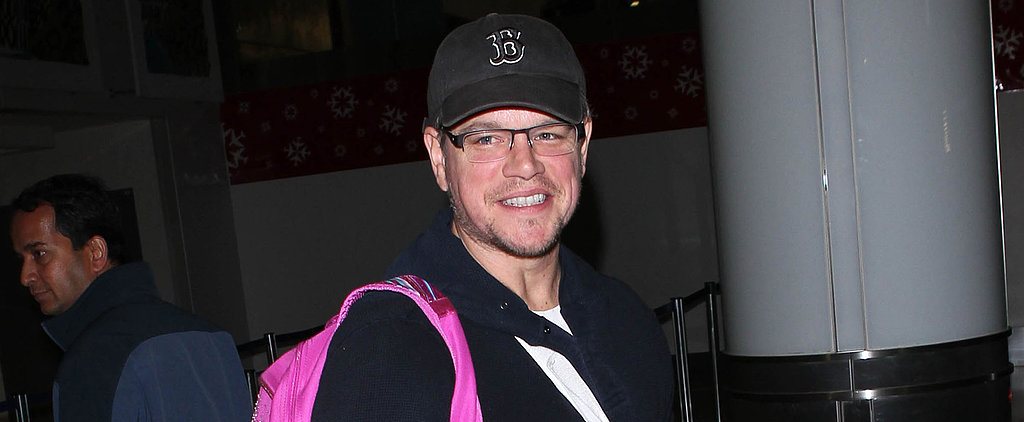 "Matt Damon Hangs Tough — Even With a Pink ""Twinkle Toes"" Bag"