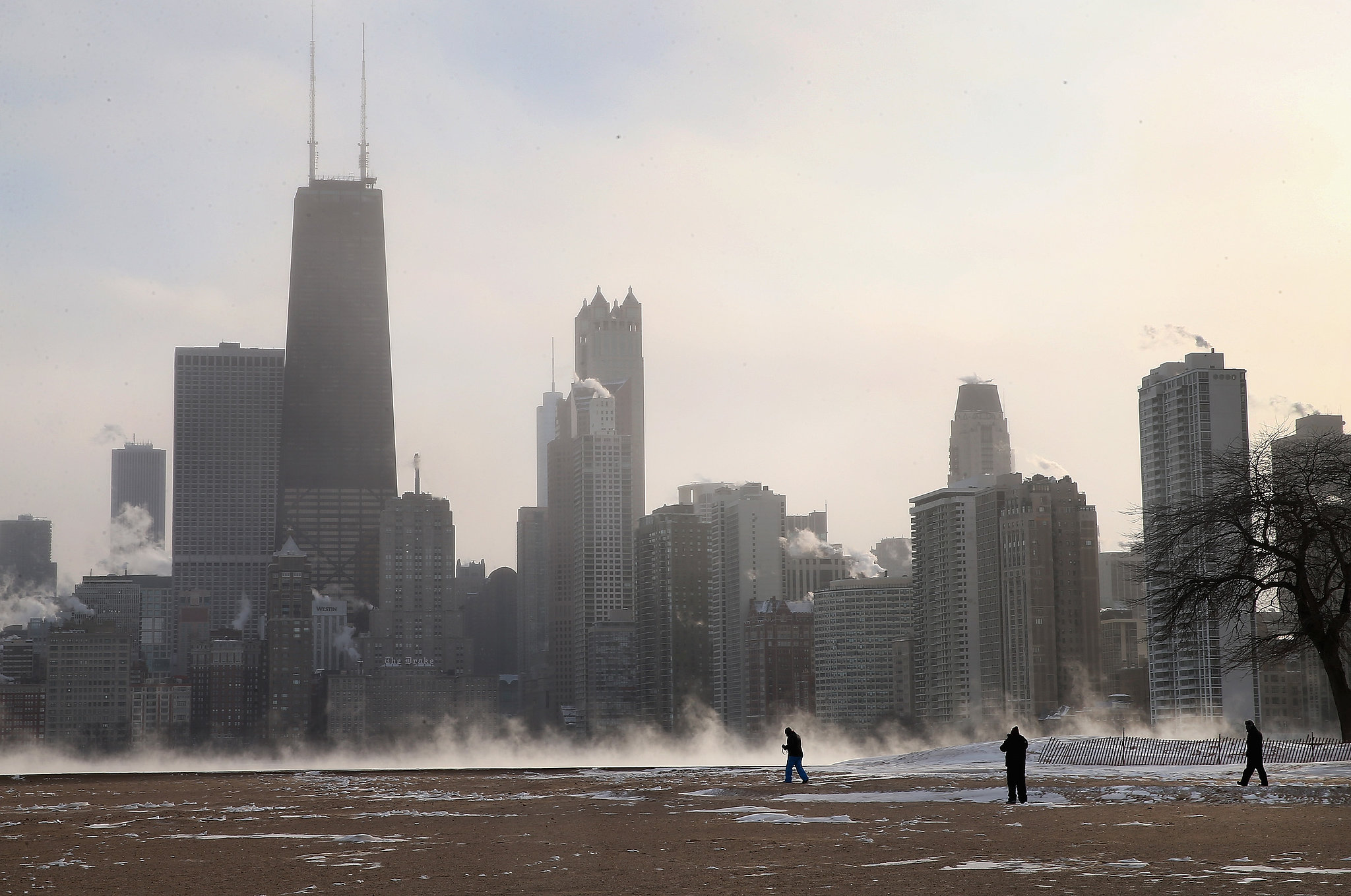 Mist rose up from the ground with subzero temperatures hitting the city.