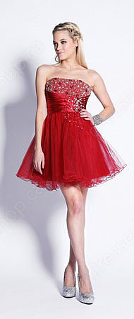 A-line Strapless Tulle Short/Mini Red Rhinestone Prom Dress at Pickedresses.com