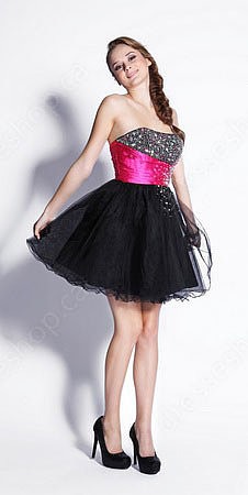 A-line Strapless Tulle Short/Mini Black Rhinestone Prom Dress at Pickedresses.com