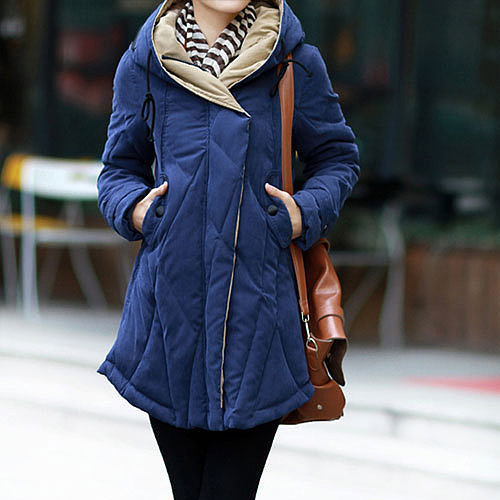 Image of [grzxy6600979]Irregular Hem Quilted Drawstring Hood Padded Jacket Thick Long Coat