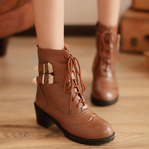 Image of [grzxy61900221]Motorcycle Style Lace Up Hollow Out Buckles Martin Boot Ankle Bootie