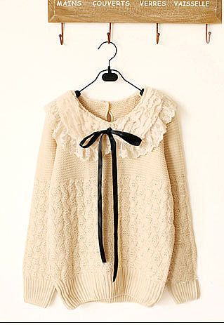Image of [grzxy6600769]Sweet Lovely Fresh Soft Bowtie Weave Pattern Splicing Lace Sweater Pullover