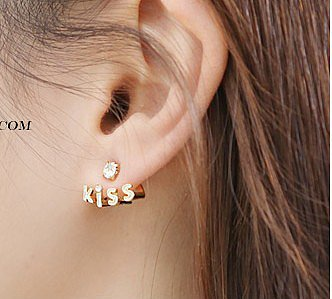 Rhinestone kiss letter earrings