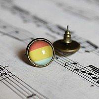 rainbow gemstone handmade ear clip/ear stud - Thumbnail 1