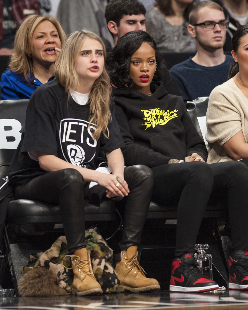 Cara Delevingne was quite the sport in Nets gear when she joined good pal Rihanna's cheering section at a recent game.