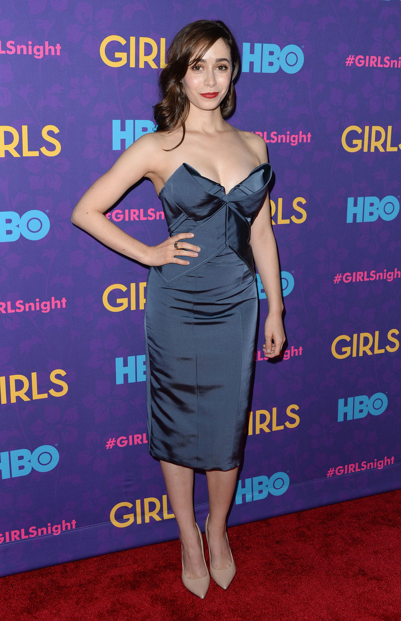 """""""The mother,"""" aka How I Met Your Mother's Cristin Milioti, stunned in blue."""