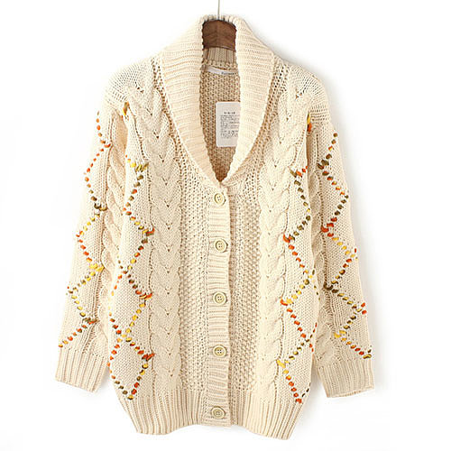 [grxjy560802]Mixed Color Chunky Knit Patterned Sweater Warm Cardigan Coat