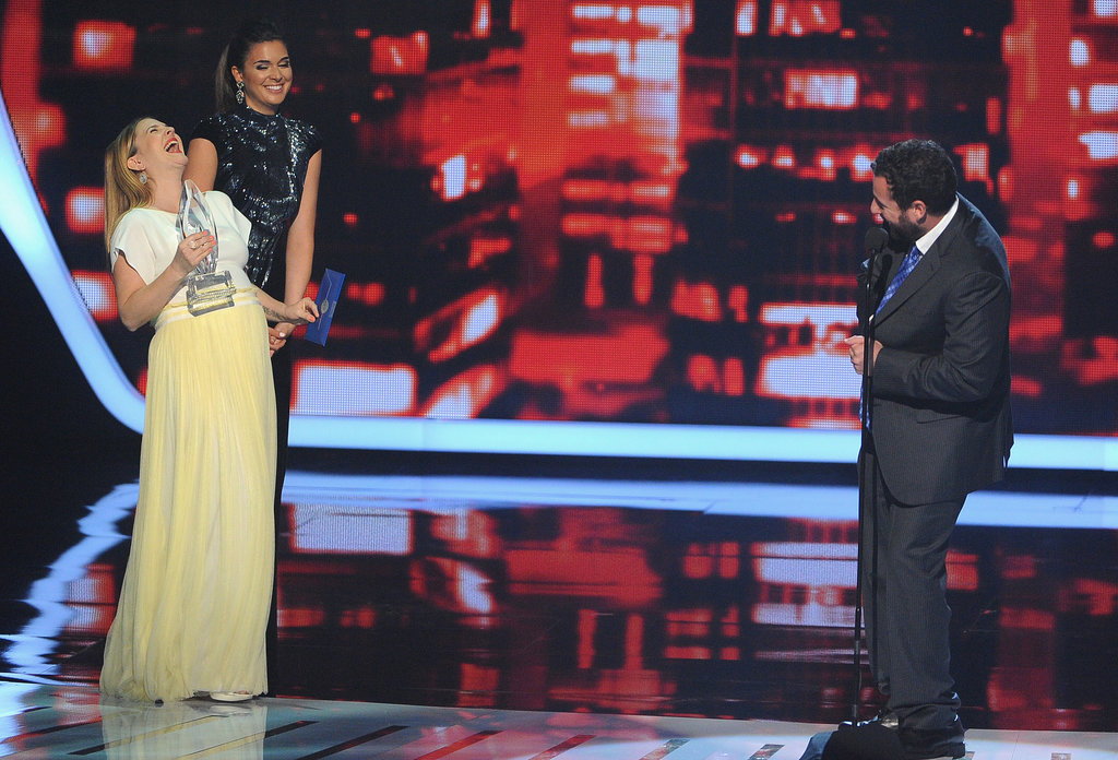 Adam Sandler made Drew laugh on stage.