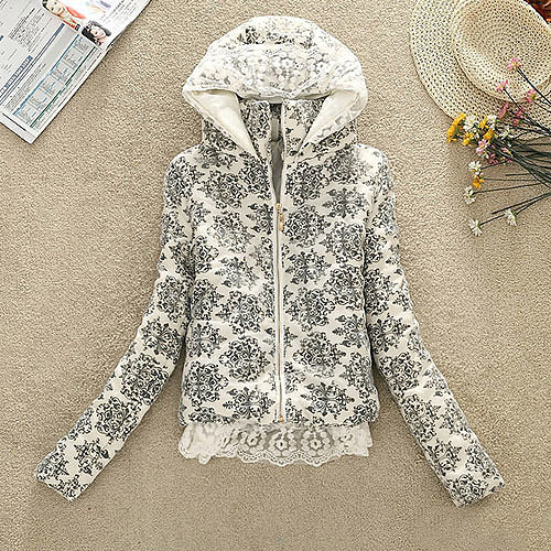 [grxjy560796]Polka Dots Crown Flowers Print Crochet Lace Padded Jacket Hooded Coat