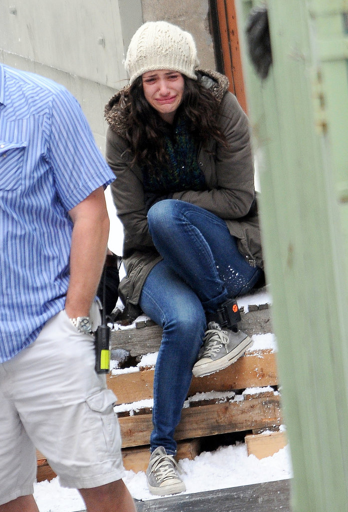 Emmy Rossum threw herself into her character's emotions while filming a new episode of Shameless in LA on Tuesday.