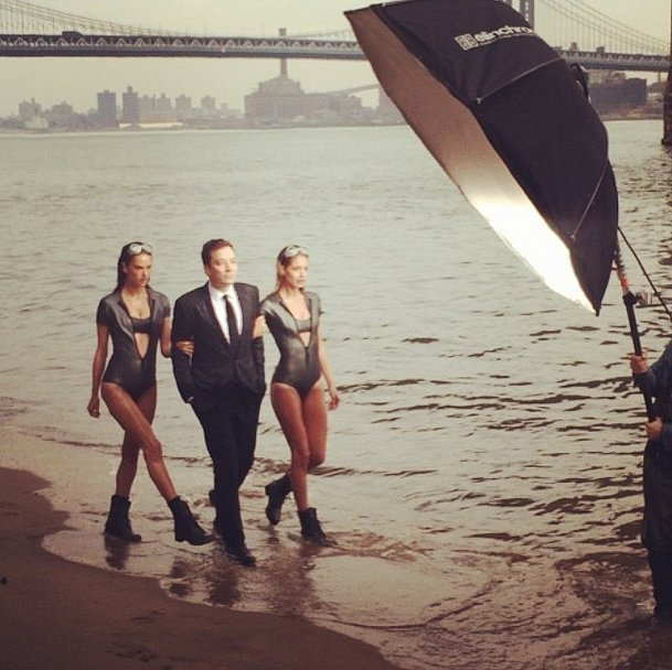 It definitely wasn't bikini weather on the East River this week, but when Alessandra Ambrosio and Doutzen Kroes strutted their stuff for Jimmy Fallon's Vanity Fair cover, things were looking brighter. Source: Instagram user alessandraambrosio