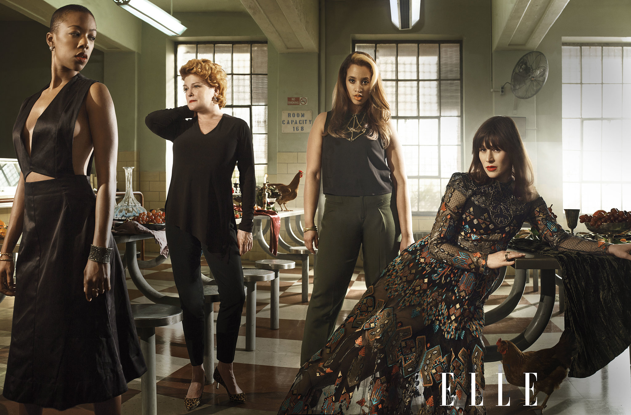 Samira Wiley (Poussey), Kate Mulgrew (Red), Dascha Polanco (Dayanara), and Yael Stone (Lorna) struck a pose in the cafeteria.  Source: Elle