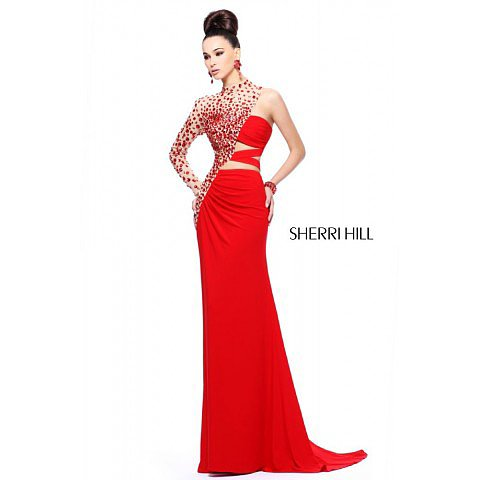 Sherri Hill 21002 Red Prom Dress