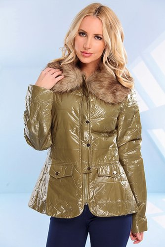 OLIVE GLOSSY ZIPPER FAUX FUR LONG PUFFER JACKET
