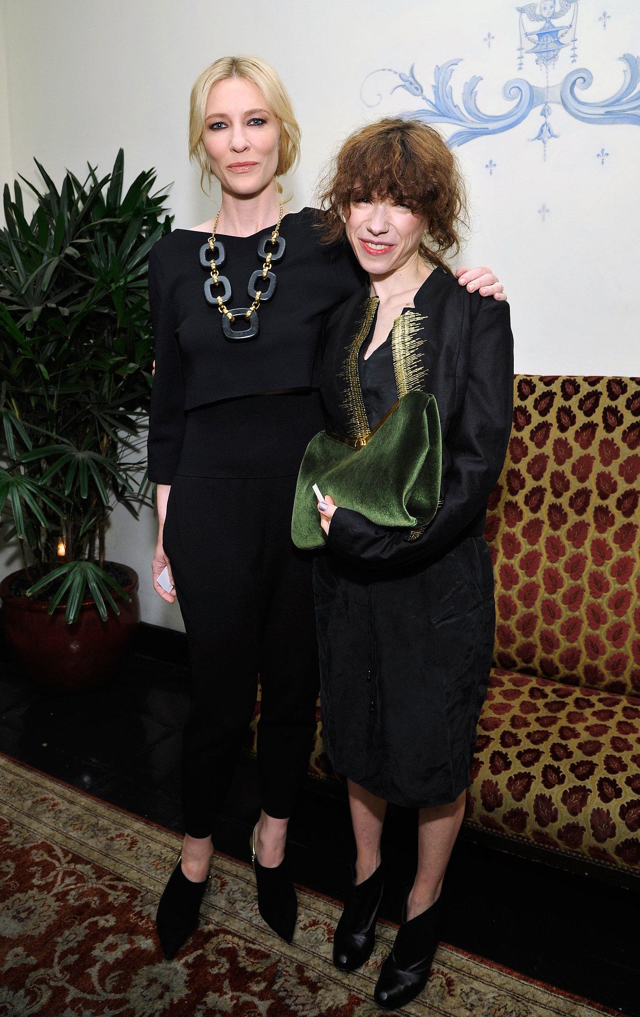 Cate Blanchett and her Blue Jasmine costar Sally Hawkins both wore black.