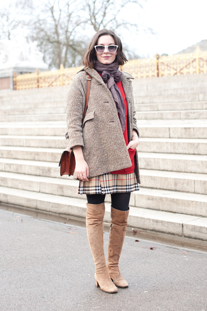 "Her coat says ""his,"" but those boots are all hers."