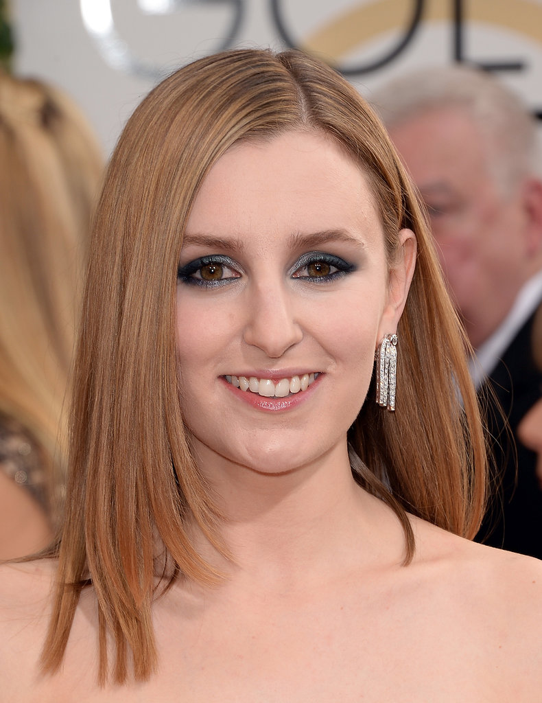 Slick strands balanced Laura Carmichael's statement metallic blue eye shadow.