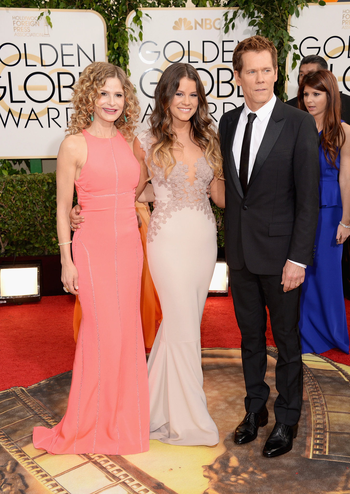 Miss Golden Globe Sosie Bacon Arrived With Her Parents, Kyra and Kevin.