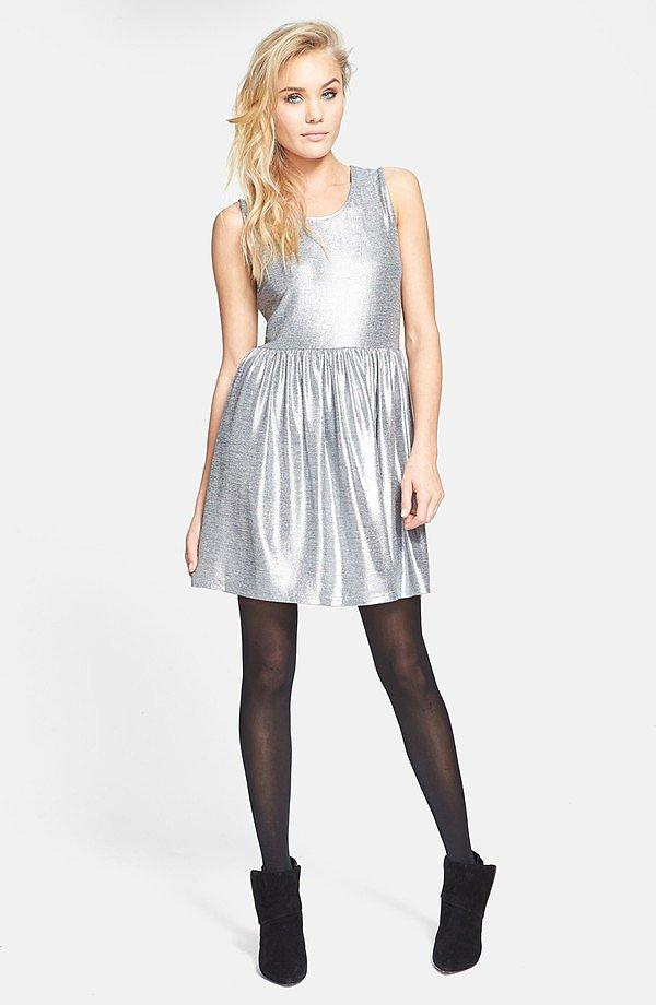 Mink Pink Metallic Silver Skater Dress
