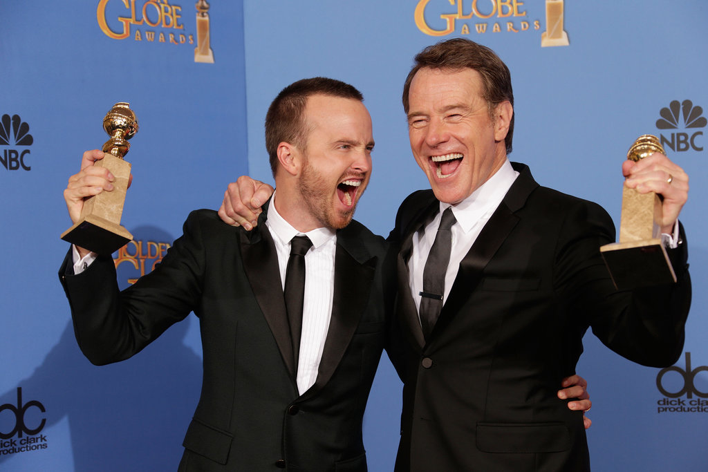 Aaron Paul and Bryan Cranston were pumped up about their win in the press room!