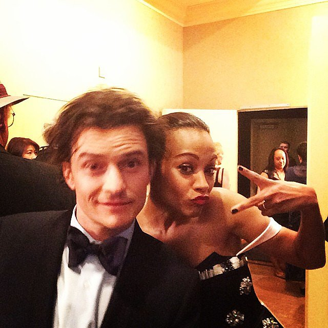 Presenters Zoe Saldana and Orlando Bloom posed backstage during the show. Source: Instagram user goldenglobes