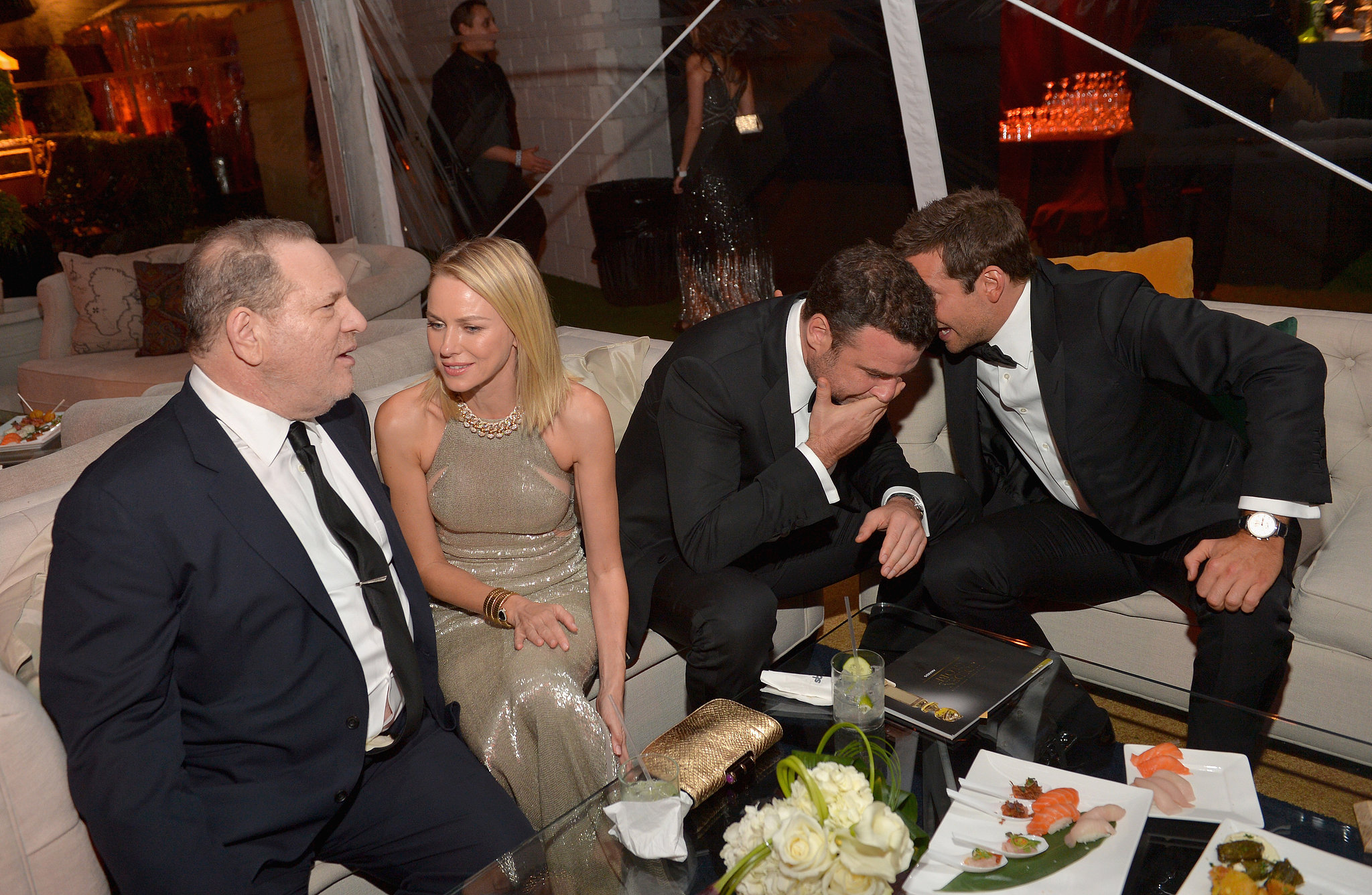 Naomi Watts chatted with Harvey Weinstein while Bradley Cooper and Liev Schreiber talked nearby at Harvey's Weinstein Company bash.