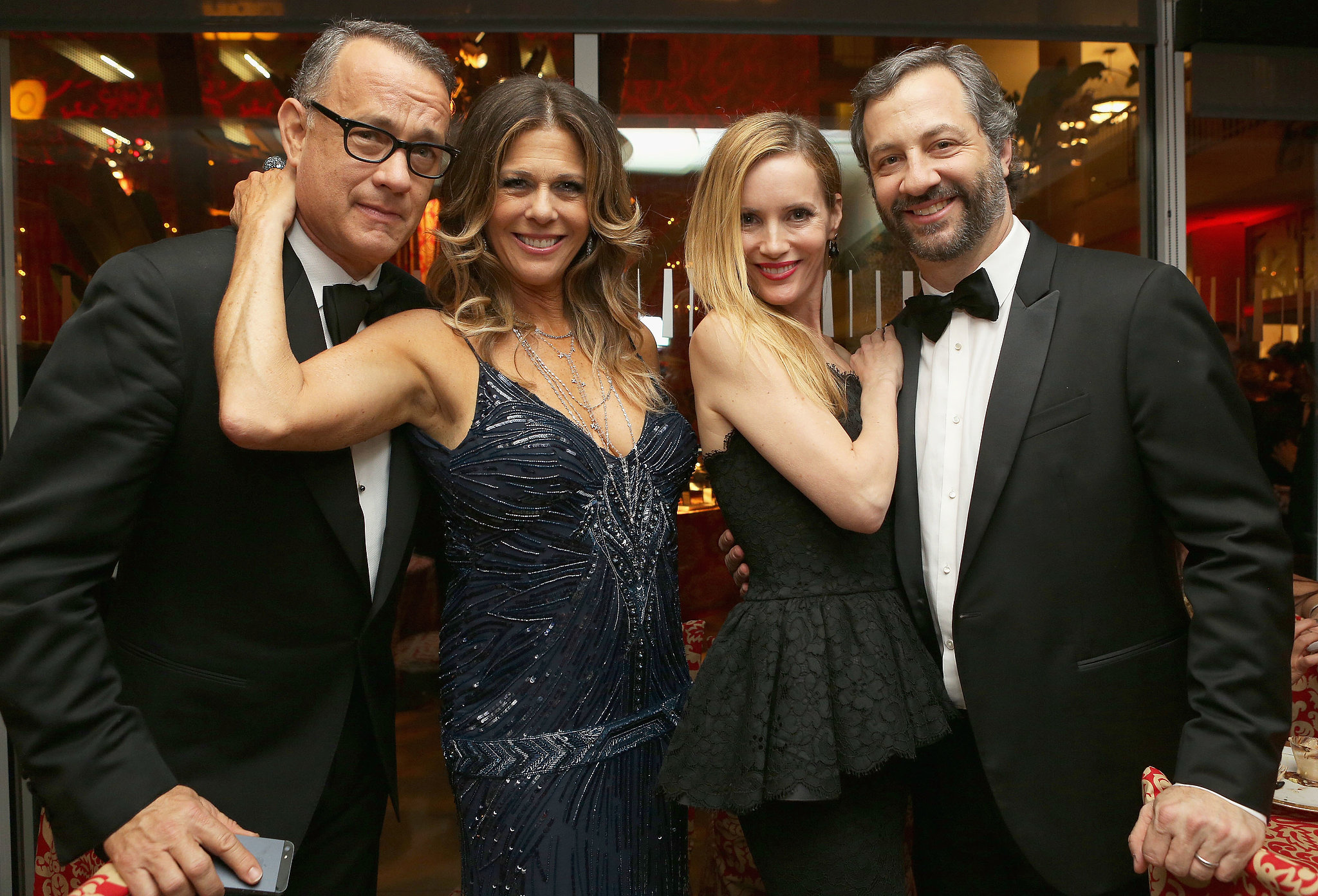 With their men tom hanks and judd apatow at hbo s post globes fete