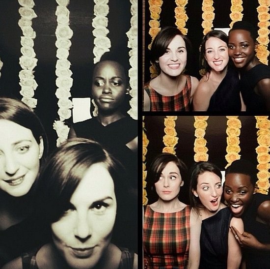 Who hasn't sat for a silly session in the photo booth? Michelle Dockery and Lupita Nyong'o have! Source: Instagram user theladydockers